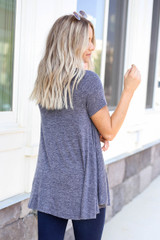 Model wearing Navy V-Neck Knit Top Back View