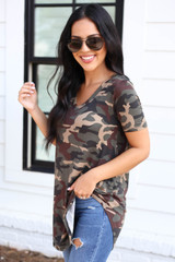 Model wearing Camo Short Sleeve V-Neck Top Side View