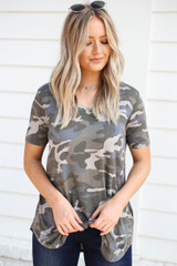 Model wearing Grey Camo Short Sleeve V-Neck Top