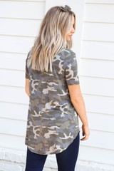 Model wearing Grey Camo Short Sleeve V-Neck Top Back View