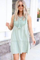 Mint - Tiered Lace Neck Dress