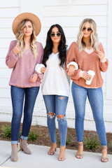 Rust - Mauve, and White Waffle Knit Sweaters