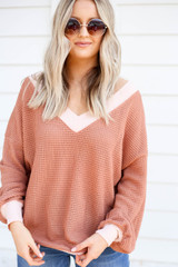 Model wearing Rust Waffle Knit Contrast Trim Sweater
