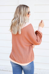Model wearing Rust Waffle Knit Contrast Trim Sweater Back Vie