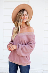 Mauve - Waffle Knit Contrast Trim Sweater Side View