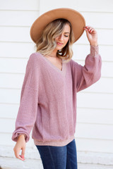 Model wearing Mauve Waffle Knit Contrast Trim Sweater Side View