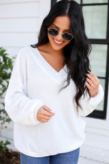 Model wearing White Waffle Knit Contrast Trim Sweater