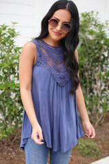 Denim - Lace Front Tank Top