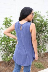 Model wearing Denim Lace Front Tank Top Back View