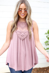Mauve - Lace Front Tank Top