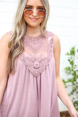 Mauve - Lace Front Tank Top Detail View