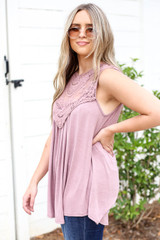 Model wearing Mauve Lace Front Tank Top Side View