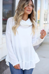 Model wearing White Cowl Neck Knit Sweater Detail View