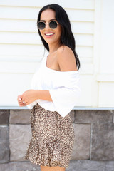 Taupe - Ruffled Leopard Shorts Side View