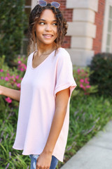 Blush - Scoop Neck Blouse Side View