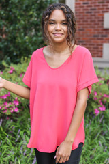 Coral - Scoop Neck Blouse