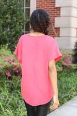Coral - Scoop Neck Blouse Back View