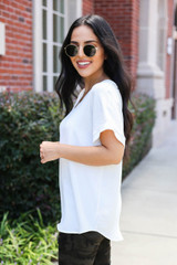 White - Scoop Neck Blouse Side View