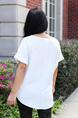 Model wearing White Scoop Neck Blouse Back View