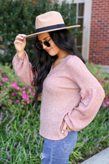 Rust - Balloon Sleeve Waffle Knit Top Side View