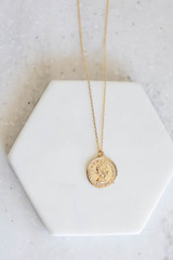 Gold - Coin Necklace Flat Lay