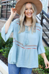 Mint - Embroidered Babydoll Blouse