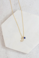 Gold - Crescent Moon Necklace Detail View