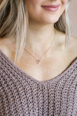 Gold - Crescent Moon Necklace on Model