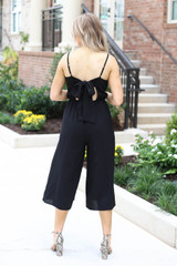 Black - Cropped Tie-Back Jumpsuit Back View