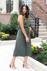 Model wearing Olive Cropped Tie-Back Jumpsuit Side View