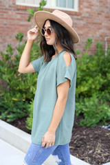 Olive - Cold Shoulder Top