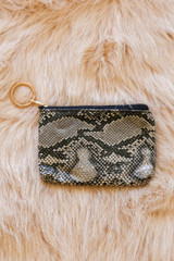 Ivory - ansley Keychain Wallet with snakeskin faux leather and tassel zipper