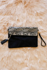 front of the Waverly Foldover clutch with wristlet strap