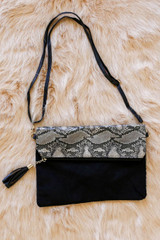 Snake - front of the snakeskin foldover clutch with cross body strap