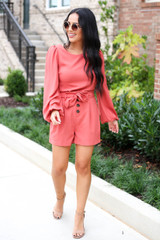 Rust - Paperbag Waist Shorts Belted Shorts