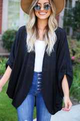 Black - Lightweight Knit Cardigan