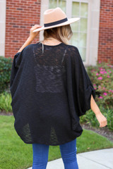Model wearing Black Lightweight Knit Cardigan Back View