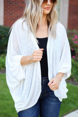 Model wearing White Lightweight Knit Cardigan
