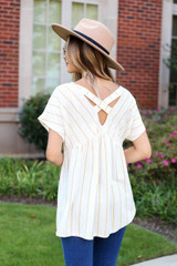 Mustard - Cross Back Striped Babydoll Top Back View