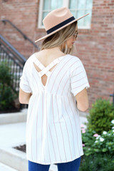 Blush - Cross Back Striped Babydoll Top Back View