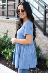 Denim - Tiered Babydoll Top Side View