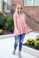 Blush - Tiered Babydoll Top Full View