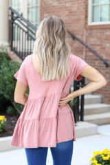 Model wearing Blush Tiered Babydoll Top Back View