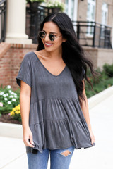 Charcoal - Tiered Babydoll Top