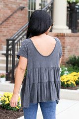 Charcoal - Tiered Babydoll Top Back View