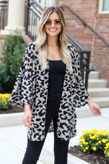 Taupe - Model wearing the Carson Leopard Knit Kimono front view
