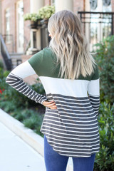 Olive - Model wearing Britt Striped Color Block Top back view