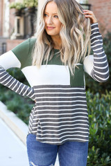 Olive - Model wearing Britt Striped Color Block Top front view