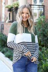 Model wearing Britt Striped Color Block Top- front view