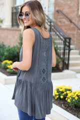 Charcoal - Crochet Tank From Dress Up Back View